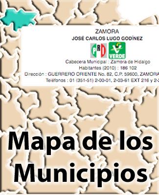 Lista y Mapa de los Municipios de Michoacán