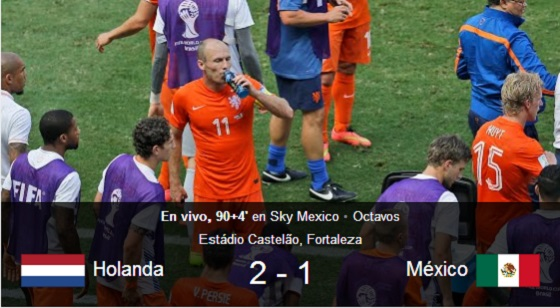 Holanda 2 - 1 México