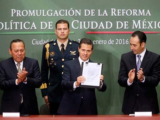 Promulga Peña Nieto Reforma Política de la Ciudad de México