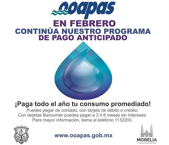 Pago Anticipado en OOAPAS Continuará en Febrero