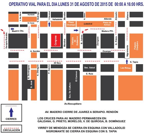 Plano Operativo Vial 31 de agosto con motivo del Informe de Gobierno