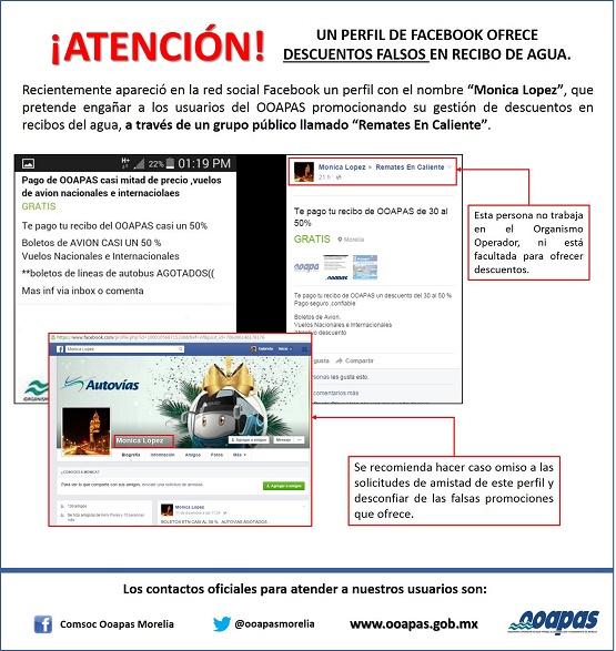 Alerta OOAPAS por Perfil Falso de Facebook que Ofrece Descuentos